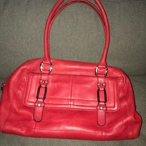 B. Makowsky Red Leather purse Bag Double Strap